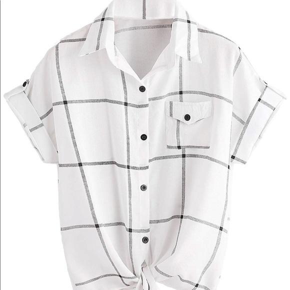 23d0212ef87e9c ROMWE Tops | Womens Grid Shirt Knot Front Roll Sleeve Blouse | Poshmark